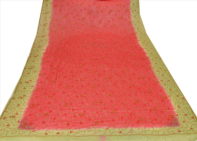 Sanskriti Vintage Dupatta Long Stole Georgette Red Hijab Hand Beaded Wrap Veil