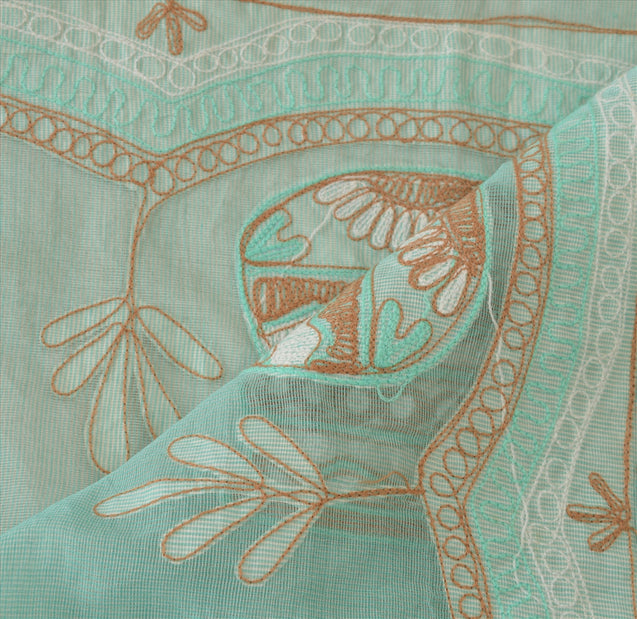 Vintage Dupatta Long Stole Cotton Sea Green Scarves Hand Embroidered Hijab