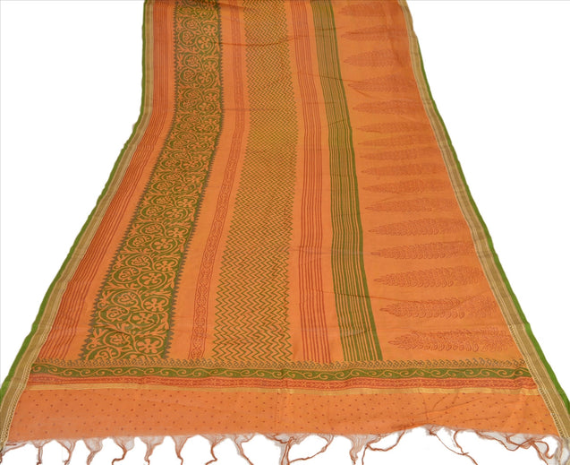 Vintage Dupatta Long Stole Cotton Saffron Wrap Hijab Block Printed Veil Scarves