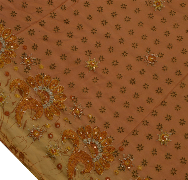 Vintage Dupatta Schal Long Stola Georgette Cream Hand Beaded Wrap Hijab