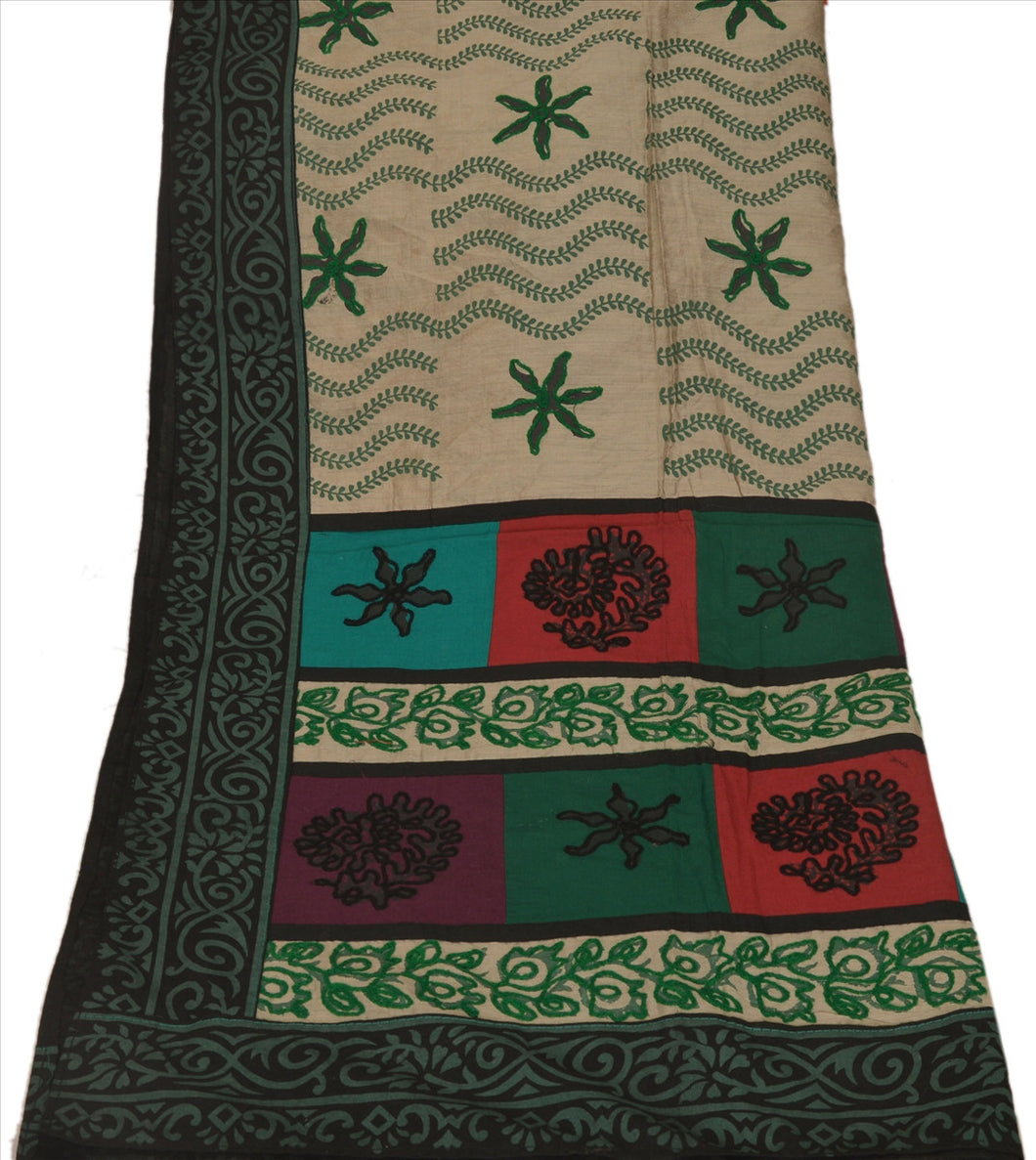 Vintage Dupatta Long Stole Cotton Multi Color Scarves Hand Embroidered Hijab