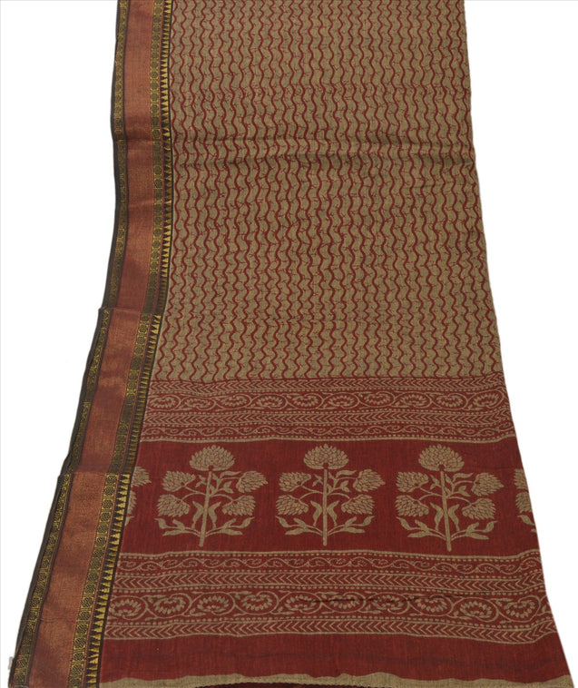 Vintage Dupatta Long Stole Cotton Brown Wrap Hijab Printed Veil Scarves
