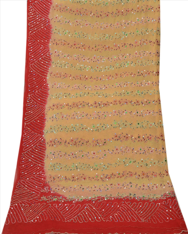 Sanskriti Vintage Dupatta Long Stole Georgette Red Scarves Hand Beaded Hijab