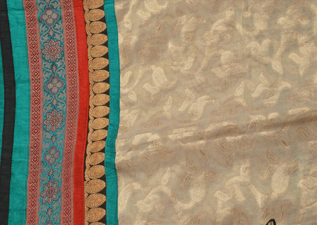 Vintage Dupatta Schal Long Stola Art Silk Multi Color Embroidered Wrap Hijab