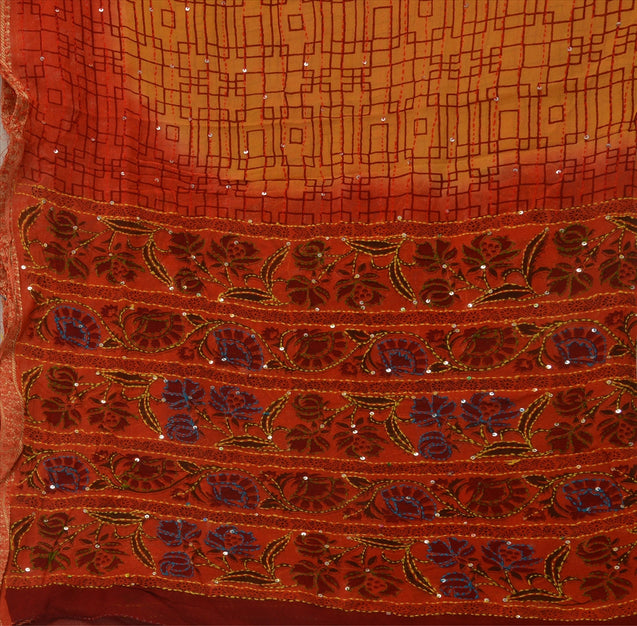Vintage Dupatta Long Stole Cotton Multi Color Hand Embroidered Kantha Wrap Veil