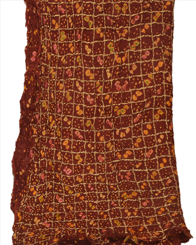 Vintage Dupatta Long Stole Cotton Brown Scarves Bandhani Woven Wrap Hijab