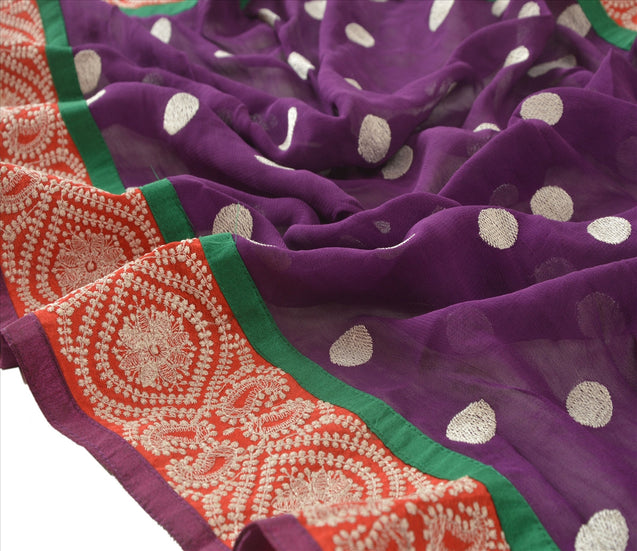 Sanskriti Vintage Dupatta Long Stole Georgette Purple Embroidered Wrap Scarves
