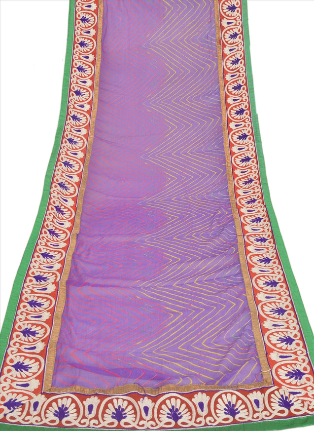Vintage Dupatta Long Stole Chiffon Silk Purple Scarves Hand Embroidered Hijab