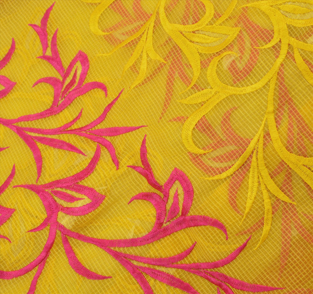 Sanskriti Vintage Dupatta Long Stole Art Silk Yellow Scarves Embroidered Hijab