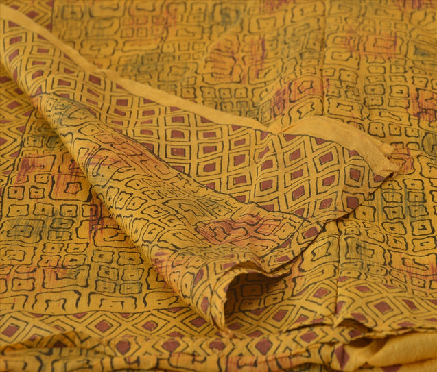 Vintage Dupatta Long Stole Pure Silk Yellow Wrap Hijab Printed Veil Scarves