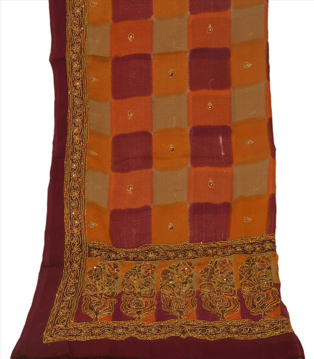 Vintage Dupatta Long Stole Georgette Multi Color Hand Embroidered Kantha Scarves