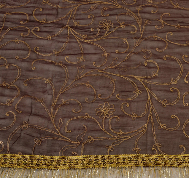Vintage Dupatta Long Stole Georgette Brown Scarves Hand Embroidered Hijab