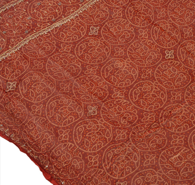 Sanskriti Vintage Dupatta Long Stole Cotton Maroon Scarves Hand Beaded Hijab