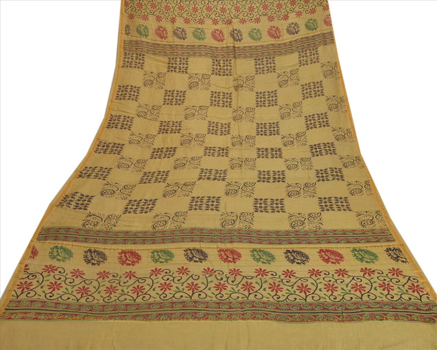 Vintage Dupatta Long Stole Cotton Green Wrap Hijab Printed Veil Scarves