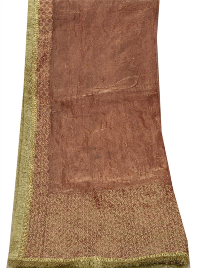 Vintage Dupatta Long Stole Tissue Golden Red Scarves Woven Brocade Wrap Hijab