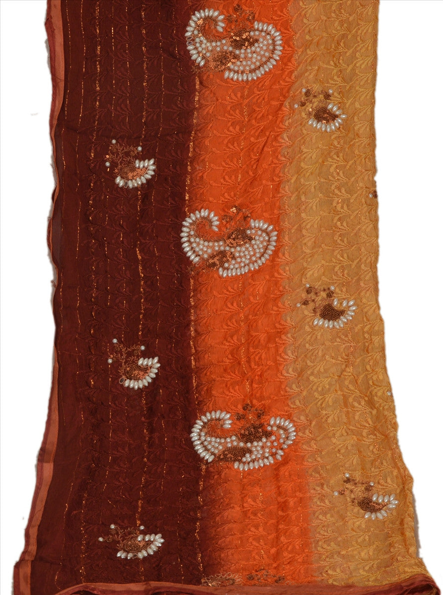 Sanskriti Vintage Dupatta Long Stole Cotton Multi Color Scarves Hand Beaded Veil
