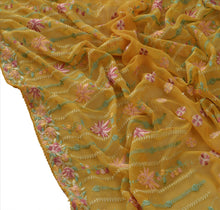 Load image into Gallery viewer, Sanskriti Vintage Dupatta Long Stole Georgette Yellow Embroidered Wrap Veil
