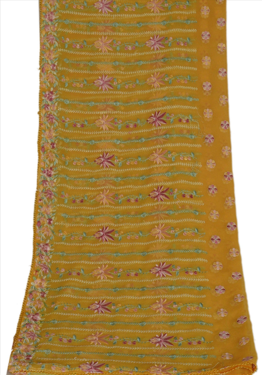 Sanskriti Vintage Dupatta Long Stole Georgette Yellow Embroidered Wrap Veil