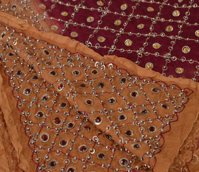 Sanskriti Vintage Dupatta Long Stole Chiffon Silk Purple Hand Beaded Wrap Veil