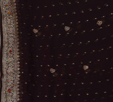 Load image into Gallery viewer, Vintage Dupatta Schal Long Stola Georgette Coffee Brown Hand Beaded Wrap Veil