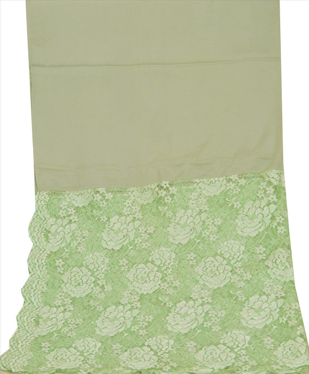 Sanskriti New Dupatta Pure Crepe Silk Net Long Stole Green Woven Scarves