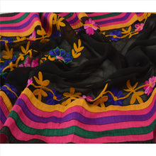 Load image into Gallery viewer, Vintage Dupatta Long Stole Georgette Black Hand Embroidered Aarizama Scarves