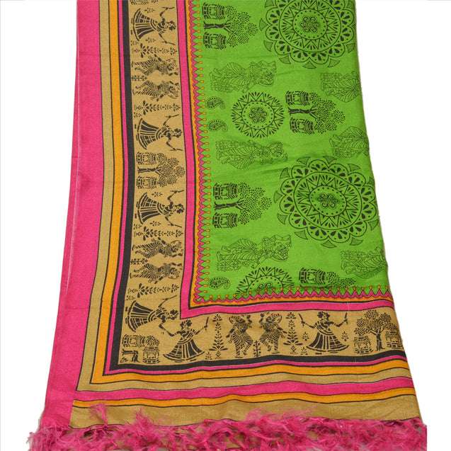 Vintage Dupatta Long Stole Art Silk Green Wrap Hijab Block Printed Veil Scarves