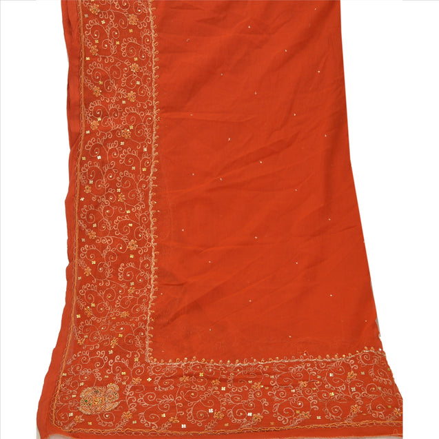 Sanskriti Vintage Dupatta Long Stole Chiffon Silk Orange Hand Beaded Wrap Veil