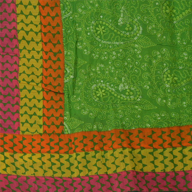 Sanskriti Vintage Dupatta Long Stole Georgette Green Scarves Embroidered Hijab