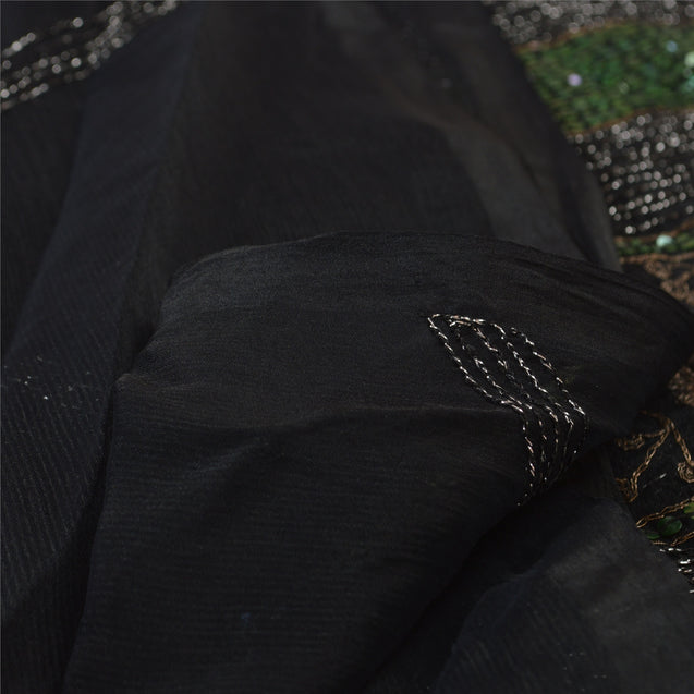 Sanskriti Vintage Dupatta Long Stole Art Silk Black Hijab Hand Beaded Wrap Veil