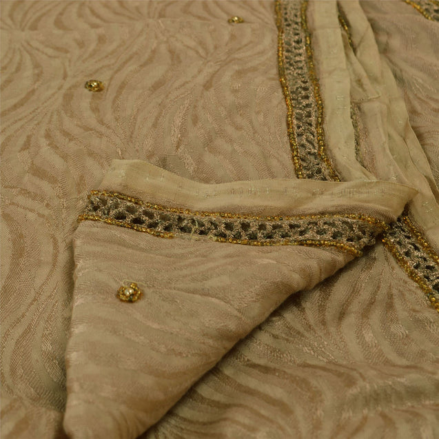 Vintage Dupatta Long Stole Cotton Brown Hijab Hand Beaded Woven Wrap Veil