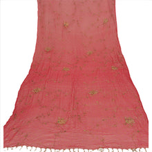 Load image into Gallery viewer, Sanskriti Vintage Dupatta Long Stole Chiffon Silk Pink Hand Beaded Wrap Hijab