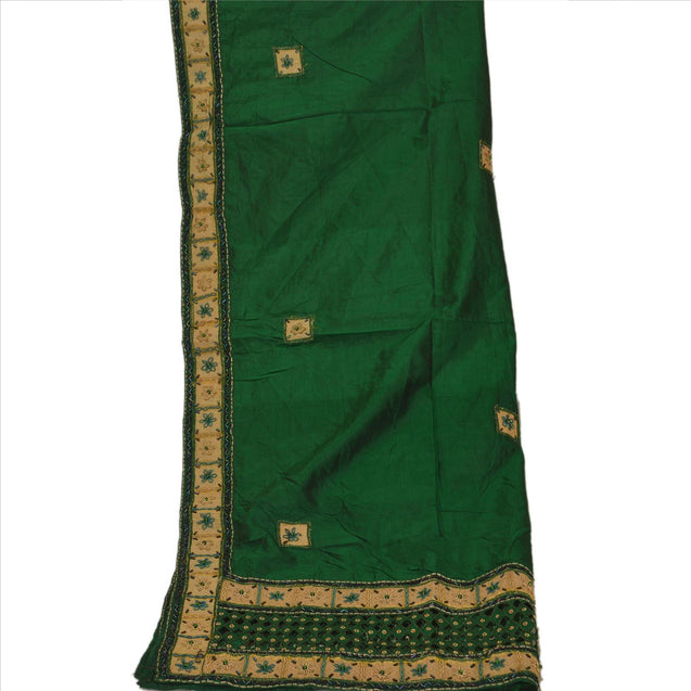 Sanskriti Vintage Dupatta Long Stole Art Silk Green Wrap Veil Hand Beaded Hijab
