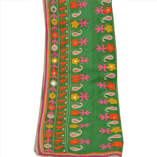 Vintage Dupatta Long Stole Cotton Green Hijab Hand Embroidered Kota Scarves
