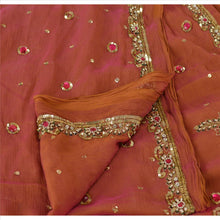 Load image into Gallery viewer, Sanskriti Vintage Dupatta Long Stole Chiffon Silk Peach Hand Beaded Wrap Hijab