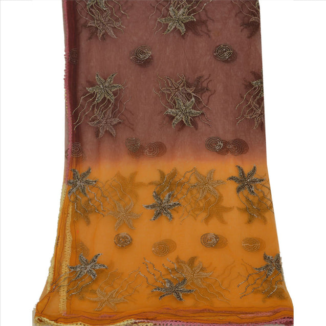 Vintage Dupatta Stole Net Mesh Saffron Christmas Home Decor Photo Prop Backdrop