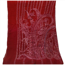 Load image into Gallery viewer, Sanskriti Vintage Dupatta Long Stole Chiffon Silk Maroon Hand Beaded Wrap Veil