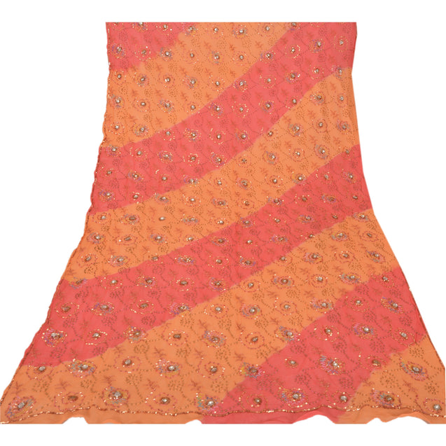 Sanskriti Vintage Dupatta Long Stole Georgette Peach Hand Beaded Wrap Scarves