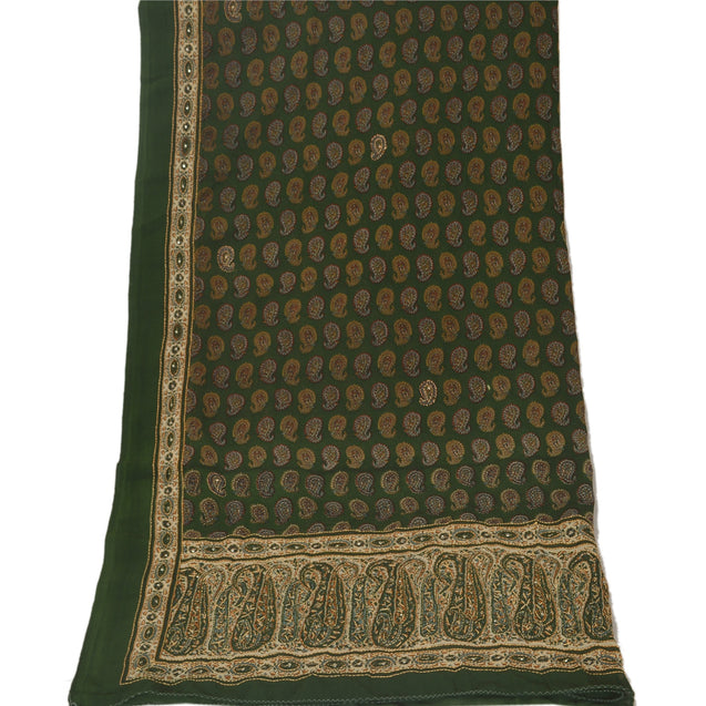 Vintage Dupatta Long Stole Georgette Green Shawl Hand Embroidered Kantha Scarves