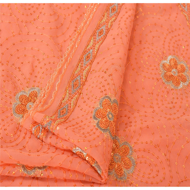 Sanskriti Vintage Dupatta Long Stole Georgette Peach Embroidered Sequins Veil