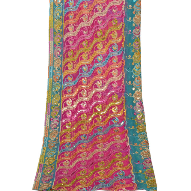 Sanskriti Vintage Dupatta Long Stole Georgette Pink Embroidered Sequins Shawl