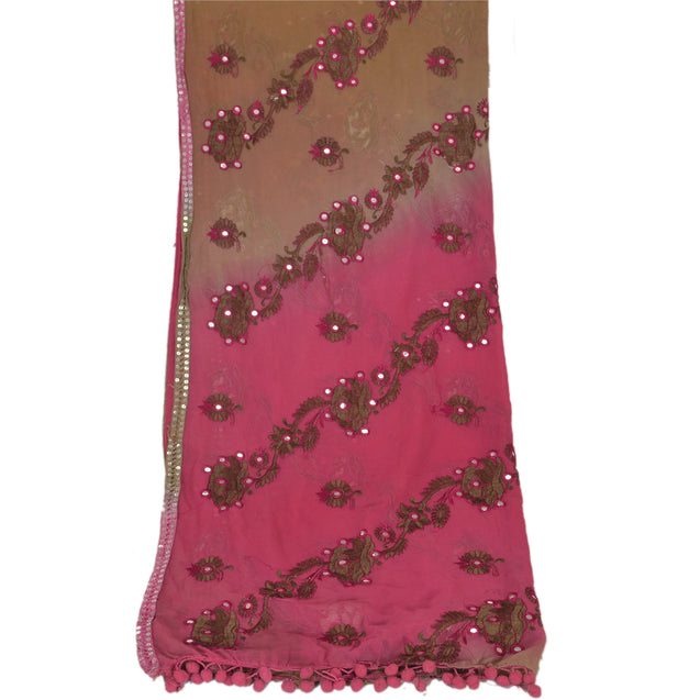 Sanskriti Vintage Dupatta Long Stole Georgette Pink Embroidered Mirror Scarves
