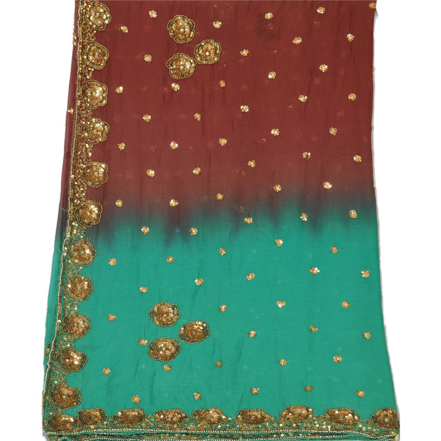 Vintage Dupatta Long Stole Chiffon Silk Green Hand Beaded Sequins Wrap Veil
