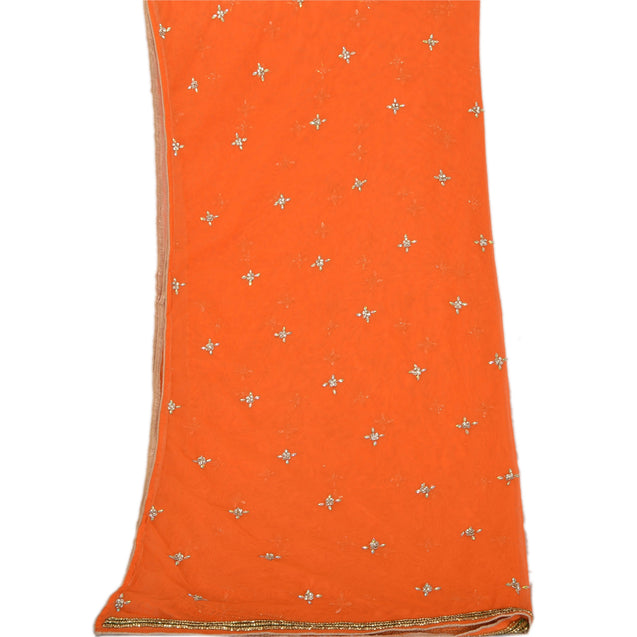 Sanskriti Vintage Dupatta Long Stole Net Mesh Orange Shawl Hand Beaded Scarves