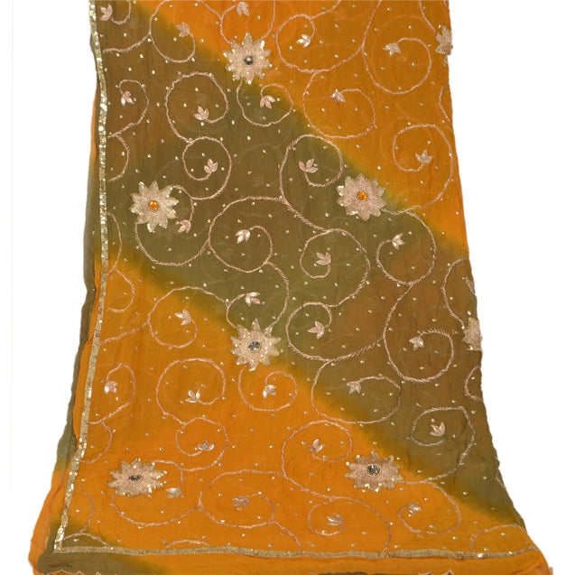 Sanskriti Vintage Dupatta Long Stole Georgette Yellow Shawl Hand Beaded Scarves
