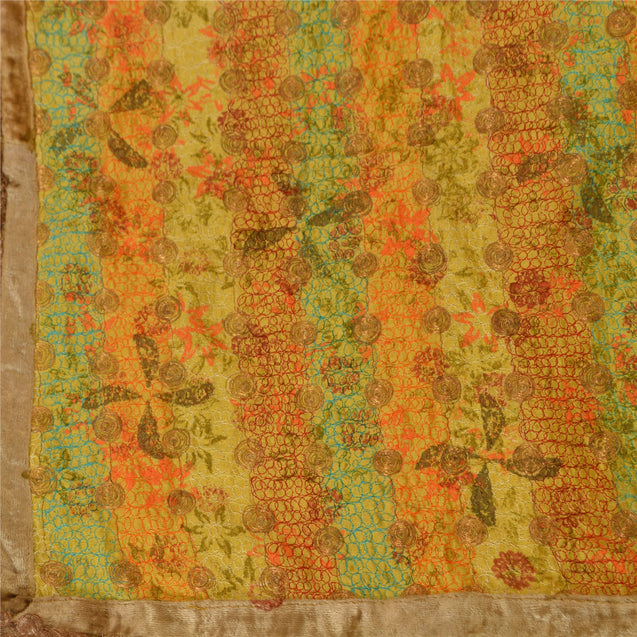 Vintage Dupatta Long Stole Cotton Yellow Hijab Embroidered Painted Wrap Shawl