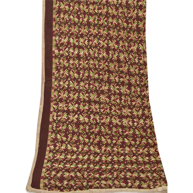 Vintage Dupatta Long Stole OOAK Brown Embroidered Shawl Bagh Phulkari Hijab