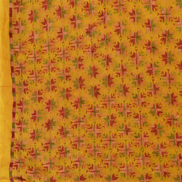Vintage Dupatta Long Stole Chiffon Silk Yellow Embroidered Bagh Phulkari Scarves