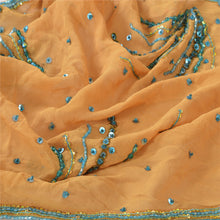 Load image into Gallery viewer, Sanskriti Vintage Dupatta Long Stole Georgette Cream Shawl Hand Beaded Scarves