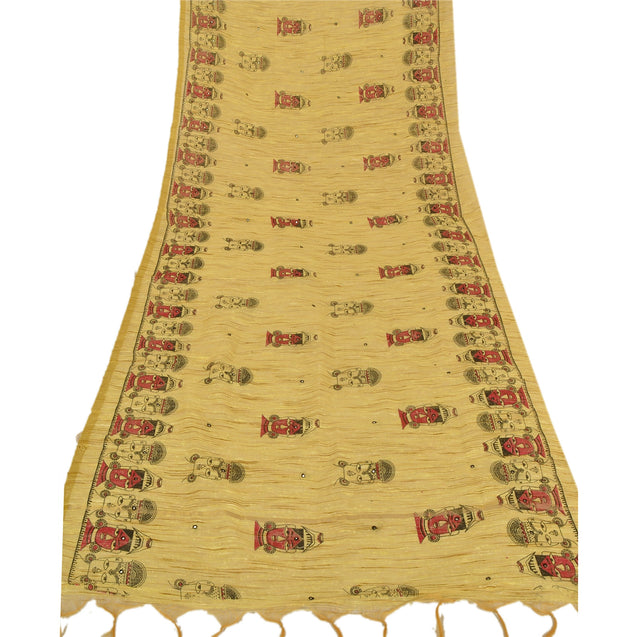 Vintage Dupatta Long Stole Handloom Cotton Hand Embroidered Block Printed Shawl